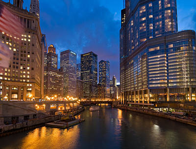 Chicago River Lights Original by Steve Gadomski