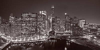 Chicago River Panorama B W Original by Steve Gadomski