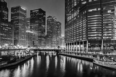 Landscape Photograph - Chicago River View At Night by Andrew Soundarajan