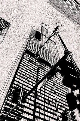 Soldier Field Mixed Media - Chicago Sears Willis Tower In Textured Bw by Thomas Woolworth