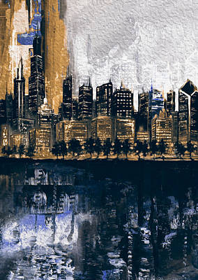 Chrysler Building Painting - Chicago Skyline 201 2 by Mawra Tahreem