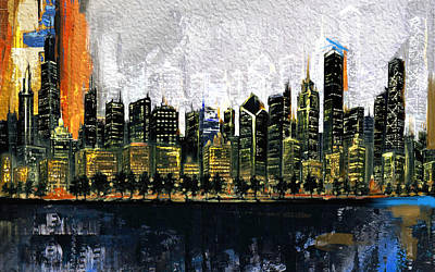 Chrysler Building Painting - Chicago Skyline 201 3 by Mawra Tahreem