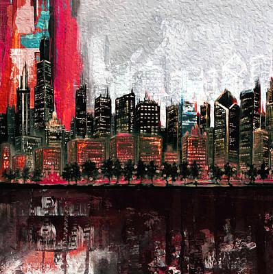 Moma Painting - Chicago Skyline 201 4  by Mawra Tahreem