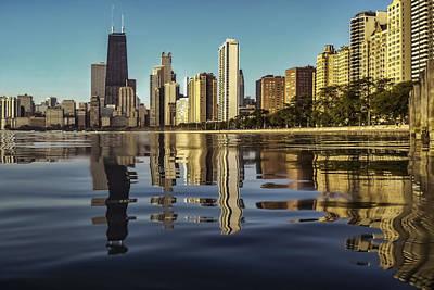 Chicago Skyline From North Avenue Partiallysubmerged Print by Sven Brogren