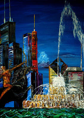 Chicago Skyline Buckingham Fountain Sears Tower Trump Tower Aon Building Original by Chicago Oil Paintings By Gregory A Page