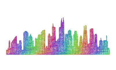 Chicago Skyline Drawing - Chicago Skyline by David Zydd