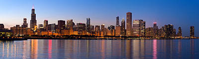 Michigan Photograph - Chicago Skyline Evening by Donald Schwartz