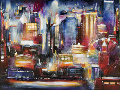 Abstract Art Painting - Chicago Skyline From Navy Pier by Kathleen Patrick