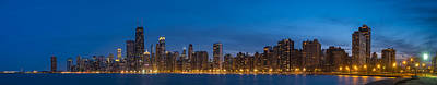Chicago Skyline From North Ave Beach Panorama Print by Steve Gadomski