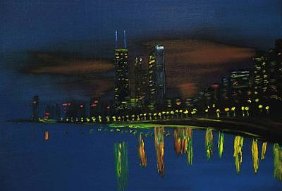 Chicago Skyline Impressionism Original by Chicago Oil Paintings By Gregory A Page