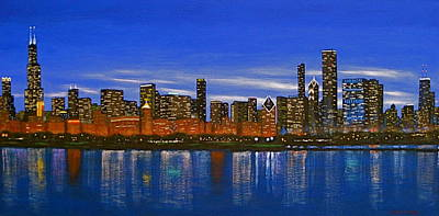 Chicago Reflections Painting - Chicago Skyline--nocturnal Glow by J Loren Reedy