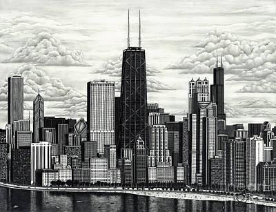 Chicago Skyline Drawing - I Love Chicago Volume 1 by Omoro Rahim