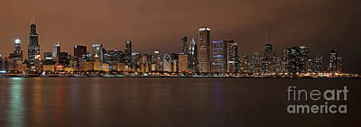 Hancock Building Digital Art - Chicago Skyline Panorama by Eddie Yerkish