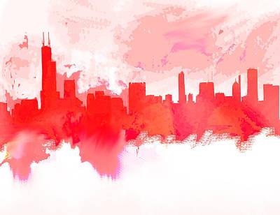 Philadelphia Skyline Painting - Chicago Skyline Red 1 by Enki Art