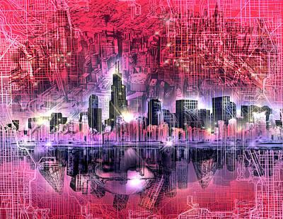 Willis Tower Digital Art - Chicago Skyline Red Version by Bekim Art