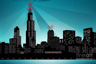 Digital Art - Chicago Skyline by Sandra Hoefer