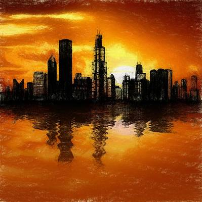 Lake Michigan Mixed Media - Chicago Skyline Sunset Reflection by Dan Sproul