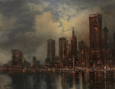 Chicago Skyline Painting - Chicago Skyline by Tom Shropshire