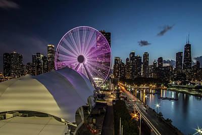 Chicago Skyline With New Ferris Wheel At Dusk Print by Sven Brogren