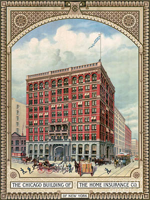 1884 Drawing - Chicago Skyscraper 1885 by Granger