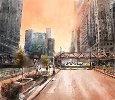 Willis Tower Digital Art - Chicago Street 2 by Bekim Art