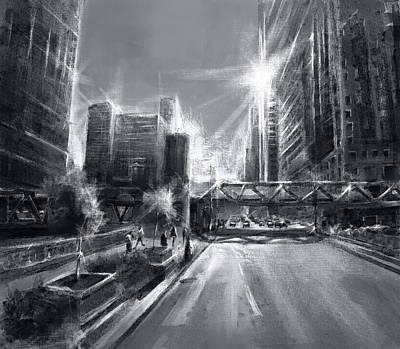 Willis Tower Digital Art - Chicago Street 4 by Bekim Art