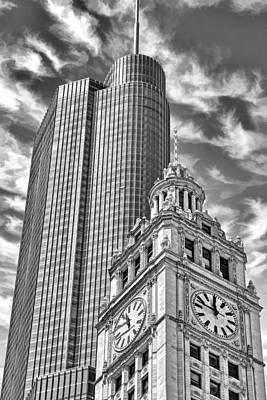 Chicago Trump And Wrigley Towers Black And White Print by Christopher Arndt