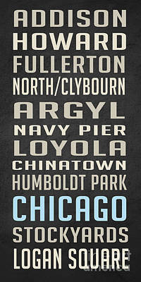 Grant Park Drawing - Chicago Vintage Subway Signs by Edward Fielding