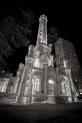 Black And White Photograph - Chicago Water Tower by Adam Romanowicz
