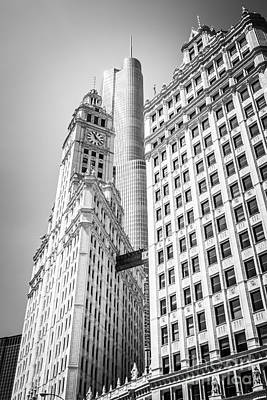 Chicago Photograph - Chicago Wrigley Building And Trump Tower Black And White Photo by Paul Velgos