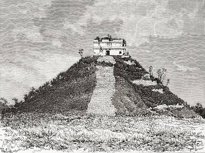 Restoration Drawing - Chichen Itza, Yucat by Vintage Design Pics