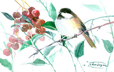 Berry Drawing - Chickadee And Berries by Suren Nersisyan