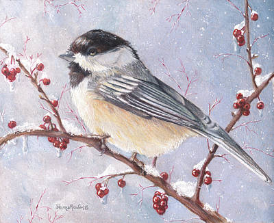 Cherry Trees Drawing - Chickadee Dee Dee by Shana Rowe Jackson