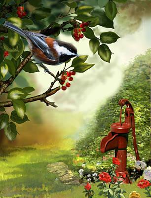 Chickadee Visiting The Water Pump Print by Regina Femrite