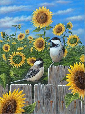Chickadees And Sunflowers Original by Robert Wavra