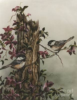 Fauna Painting - Chickadees by Jean Harrison