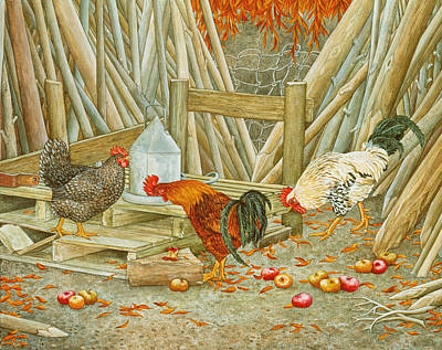 Country Scenes Painting - Chicken Feed by Ditz