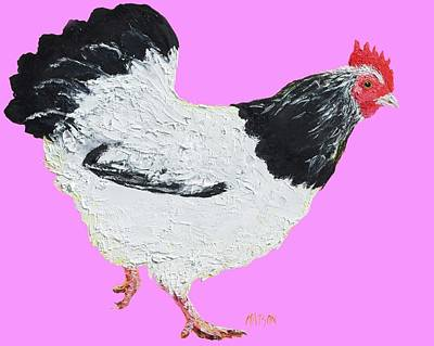Country Style Painting - Chicken On Pink Background by Jan Matson