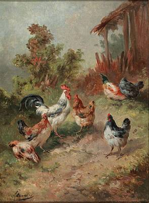 Poster Painting - Chickens Before A Stable And Chickens On The Way by Louis Marie