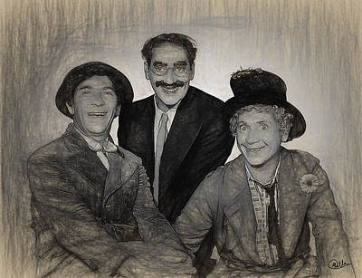 Groucho Marx Drawing - Marx Brothers Draw by Quim Abella