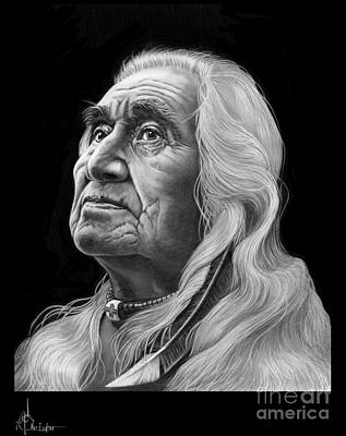 Famous People Drawing - Chief Dan George by Murphy Elliott