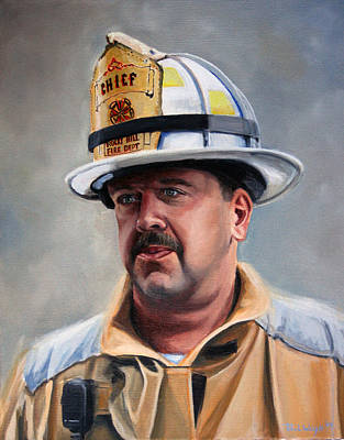 Firefighter Painting - Chief Garrahy by Paul Walsh
