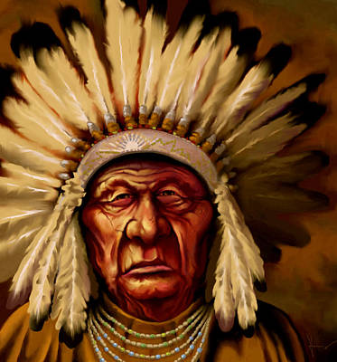 Indian Cherokee Digital Art - Chief by Hans Neuhart