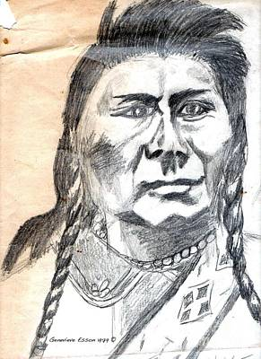 Strong America Drawing - Chief Joseph by Genevieve Esson