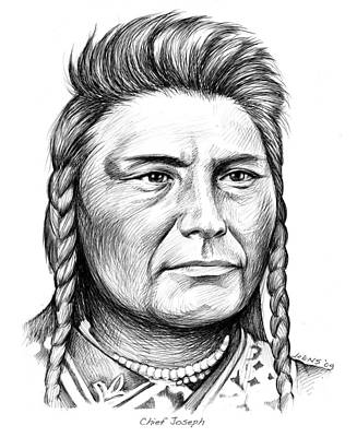 Indian Chief Drawing - Chief Joseph by Greg Joens