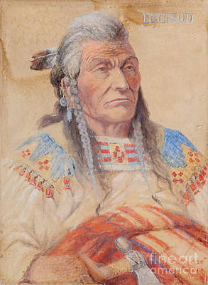 Wolf Watercolor Painting - Chief Louison - Flathead by Edgar S Paxson