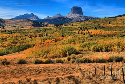 Chief Mountain Fall Foliage Print by Adam Jewell