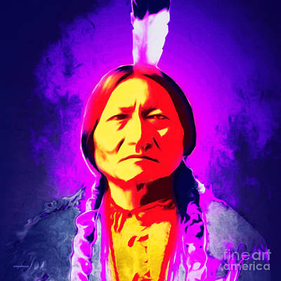 Chief Sitting Bull 20160103 Square Print by Wingsdomain Art and Photography