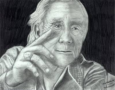 Trudell Drawing - Chief Ted Thin Elk by Bob Schmidt