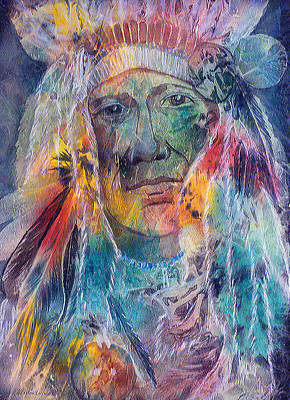 Native American Watercolor Painting - Chief Two Moons I by Patricia Allingham Carlson